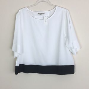 Banana Republic Size XL NWT Blk/Wht Crop Blouse L2